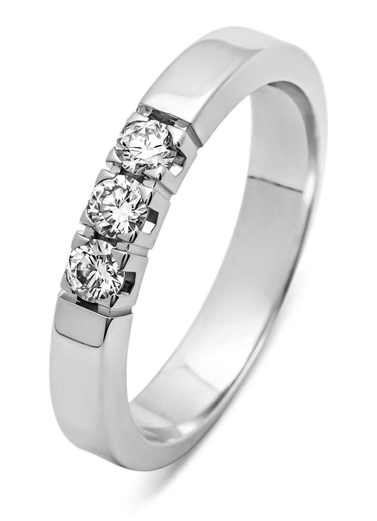 Diamond Point - Alliance en or blanc 14 carats avec diamant - Or blanc