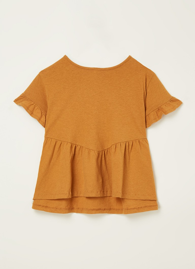 Play Up - Blouse en lin à volants  - Cognac